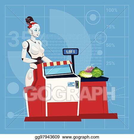 Clip Art Vector - Modern robot female work in shopping mall