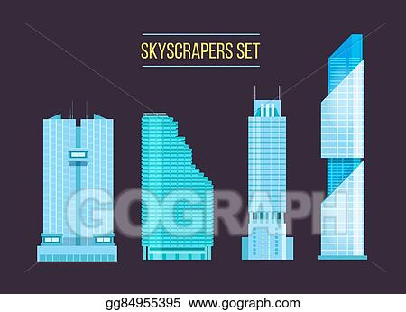 Vector Clipart Modern Skyscrapers Icons Set On The Dark Background