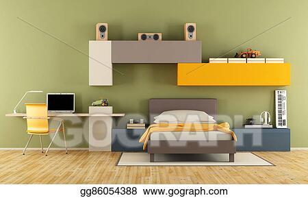 Stock Illustration - Modern teenage boy bedroom. Clipart ...
