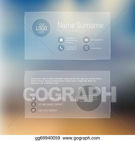 Vector Art Modern Transparent Business Card Template Clipart