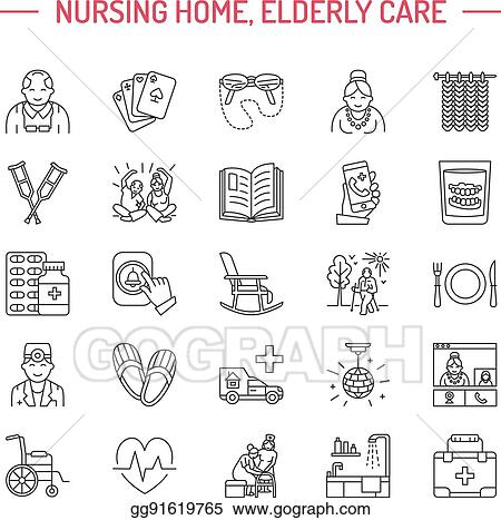 The older patient modern nursing home in norway array clip art vector modern vector line icon of senior and elderly care rh gograph fandeluxe Gallery