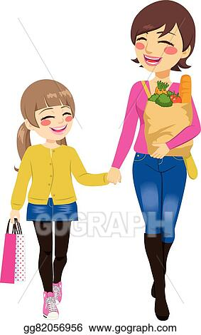 vector art mom daughter shopping together clipart drawing rh gograph com mom and daughter hugging clipart mother and daughter cooking clipart