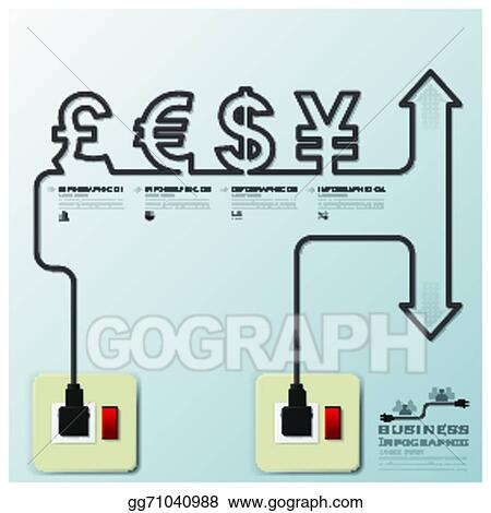 vector illustration money currency electric line business