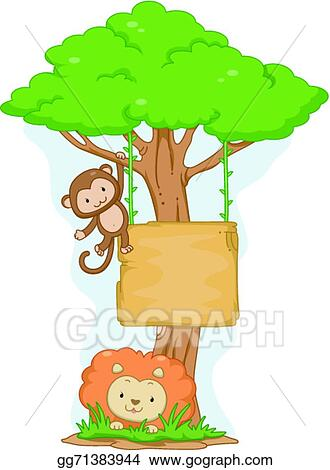 Vector Art Monkey And Lion Hanging Board Eps Clipart