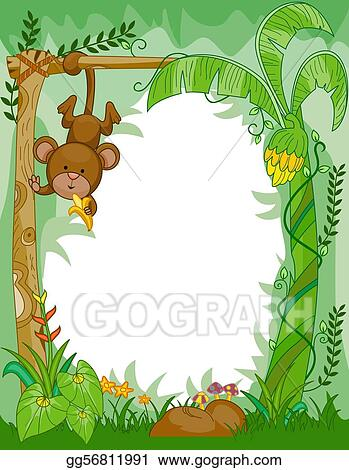clip art frame design featuring a monkey eating bananas in the jungle stock illustration gg56811991 - Monkey Picture Frame