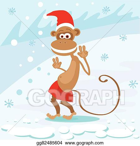 monkey happy smile wear santa hat show peace two fingers new year sign asian horoscope merry christmas