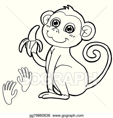 Eps Illustration Monkey With Paw Print Coloring Page Vector