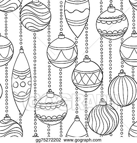 Christmas Balls Clipart Black And White.Vector Clipart Monochrome Black And White Seamless