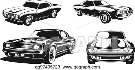 Vector Clipart Monochrome Illustration Set Of Retro Muscle Cars