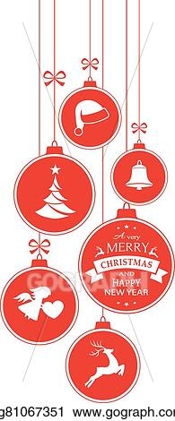 monochrome red christmas baubles on white vertical border