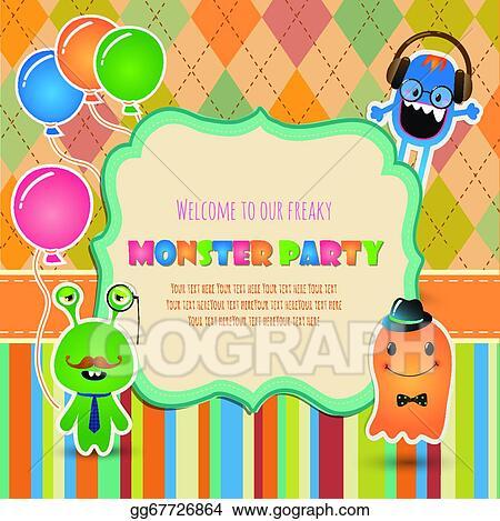 Eps Illustration Monster Party Invitation Card Design