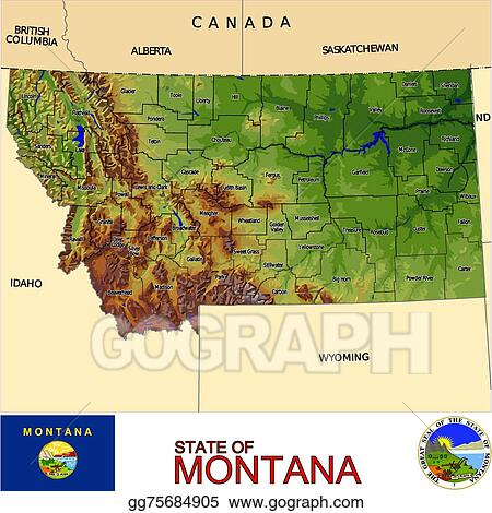 Eps Vector Montana Counties Map Stock Clipart Illustration