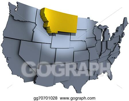stock illustration montana gold treasure state us map clipart rh gograph com us road map clipart united states map clipart
