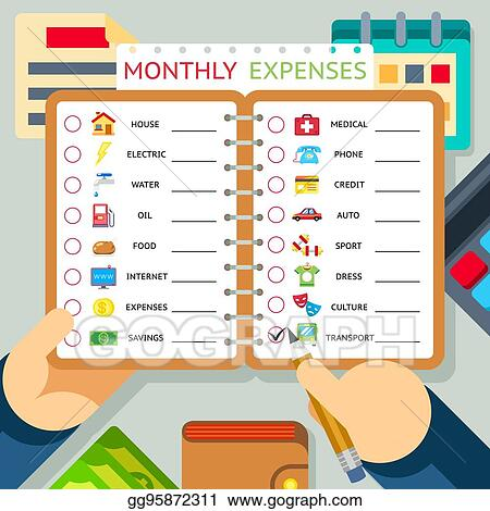 vector art monthly expenses costs and income vector infographics