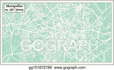 Montpellier On Map Of France.Vector Illustration Montpellier France City Map In Retro Style