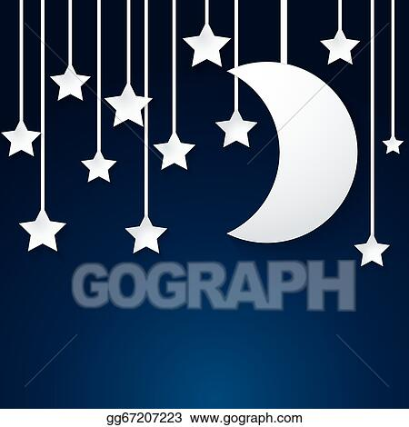Eps Vector Moon And Star Paper Vector Stock Clipart Illustration