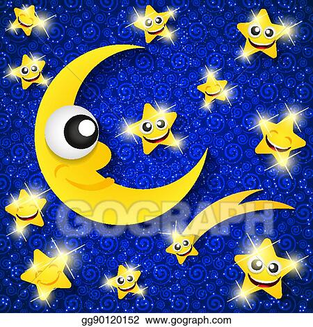 Evening Moon and Star Clip Art