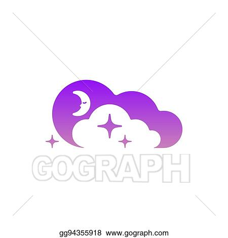 Vector art moon clouds and stars icon template symbol logo moon clouds and stars icon template symbol logo night or bed time sign logo concept in negative space maxwellsz