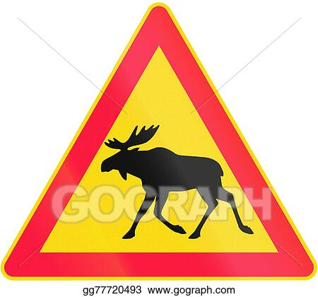 drawing moose crossing in finland clipart drawing gg77720493