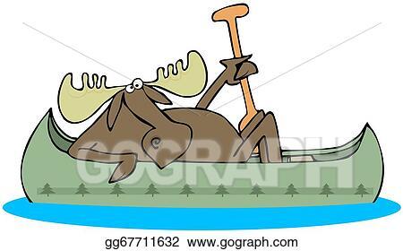 Moose Paddling A Canoe