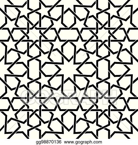 Moroccan Tiles Vector Pattern Moorish Seamless Design In Black Geometric Abstract