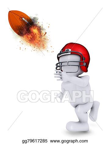 Stock Illustration Morph Man Throwing Flaming Americal Football