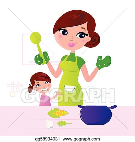 Cooking Utensil Mother Healthy Food With Child In Kitchen