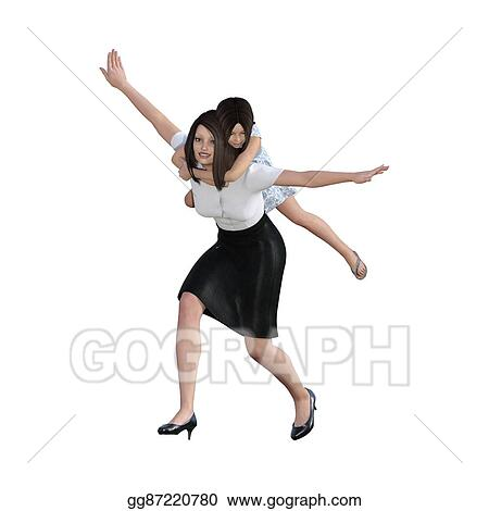Stock Illustration Mother Daughter Interaction Of Piggyback Ride