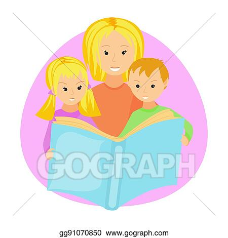 Vector Art Mother Reading Book To Her Children Clipart