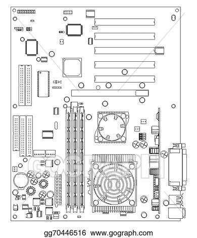Stock Illustration - Motherboard. wire frame render. Stock Art ...