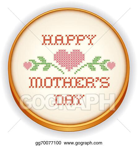 vector illustration mothers day hearts embroidery hoop eps