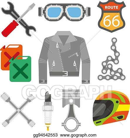 vector stock motor racer accessories and motorcycle car spare