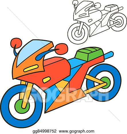 EPS Illustration - Motorcycle. coloring book page. Vector Clipart ...