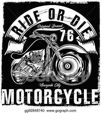 a3c1d0a6858 Vector Clipart - Motorcycle label t-shirt design with illustration ...