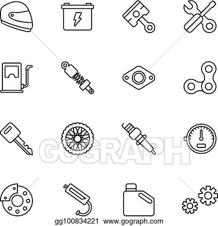 Vector Art Motorcycle Parts Vector Icons Eps Clipart Gg100834221