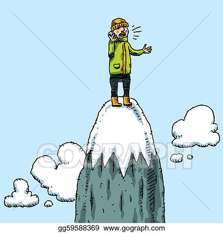 Clipart - Mountaintop phone call. Stock Illustration ...