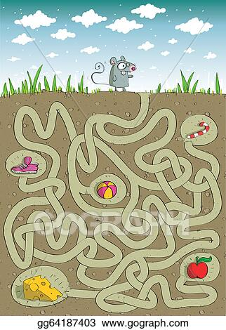 eps illustration mouse and cheese maze game vector clipart
