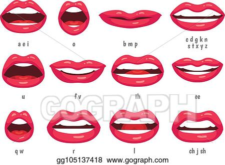Vector Clipart Mouth Animation Lip Sync Animated Phonemes For Cartoon Woman Character Mouths With Red Lips Speaking Animations Vector Set Vector Illustration Gg105137418 Gograph
