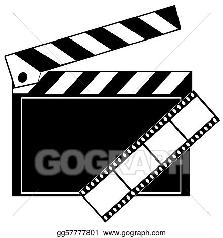 Stock Illustration Movie Film Strip And Clapboard Clipart