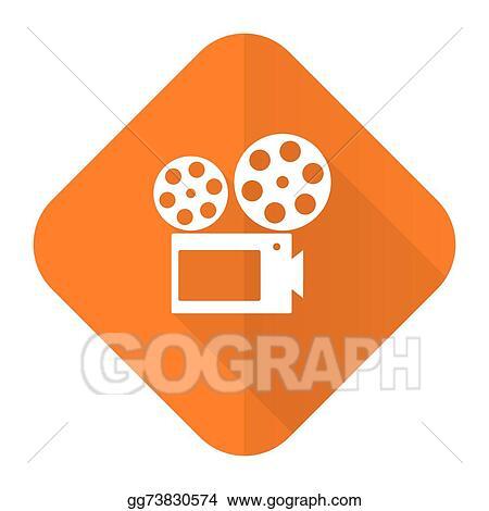 Movie Orange Flat Icon Cinema Sign
