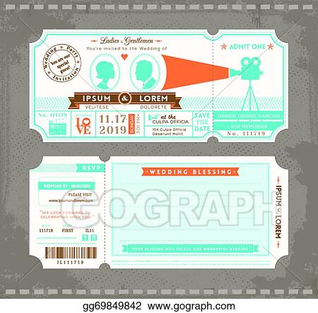 Vector illustration movie ticket wedding invitation design movie ticket wedding invitation design template stopboris Image collections