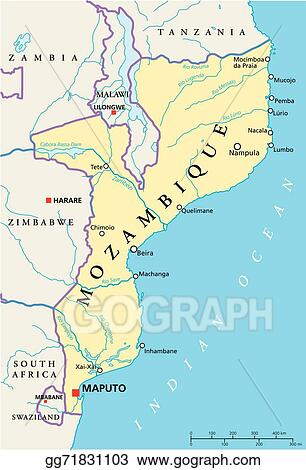 Clip Art Vector Mozambique political map Stock EPS gg71831103