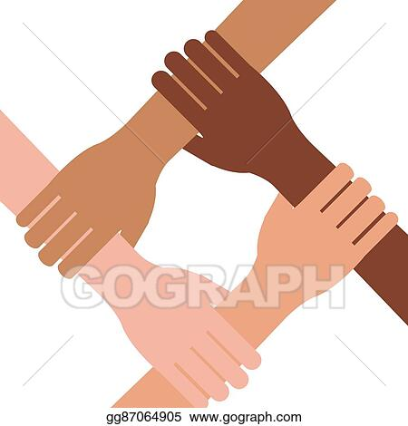Vector Illustration Multi Ethnic Hands Teamwork Unity Eps Clipart Gg87064905 Gograph