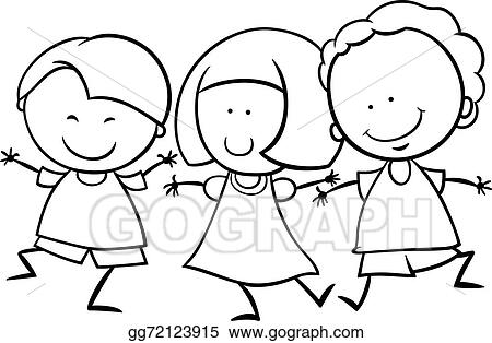 Clip Art Vector - Multicultural children coloring page ...