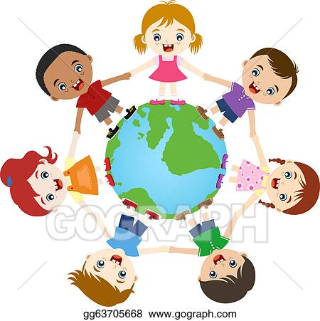 clipart multicultural children hand in hand stock illustration rh gograph com multicultural clipart free multicultural clipart black and white