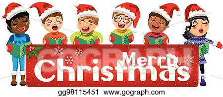 7349c03f31743 Multicultural kids wearing xmas hat and singing Christmas carol behind  banner isolated