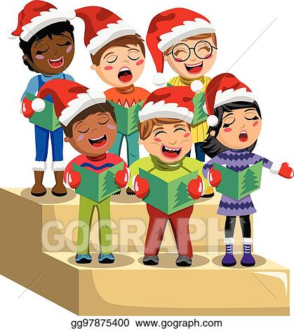 vector stock multicultural kids xmas hat singing christmas carol rh gograph com Praise and Worship Clip Art Worship Service Clip Art