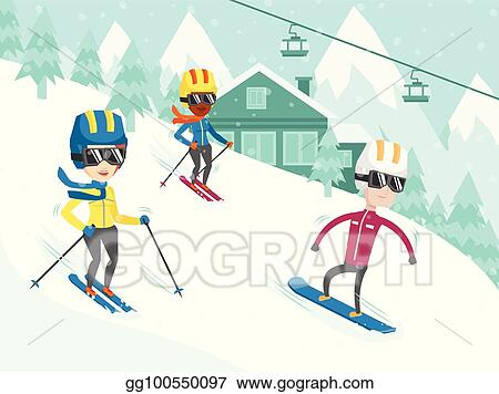 Vector Stock Multicultural People Skiing And Snowboarding Clipart Illustration Gg100550097 Gograph
