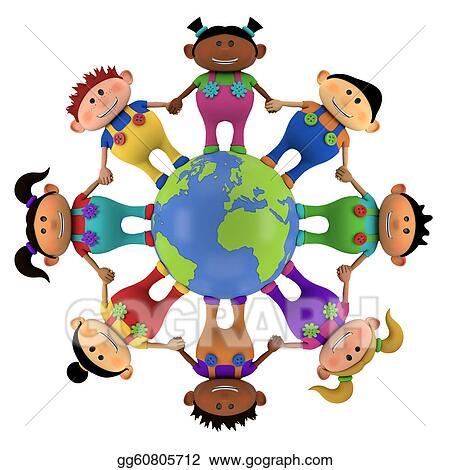 drawing multiethnic kids around globe clipart drawing World Clip Art Globe Clip Art Without Background