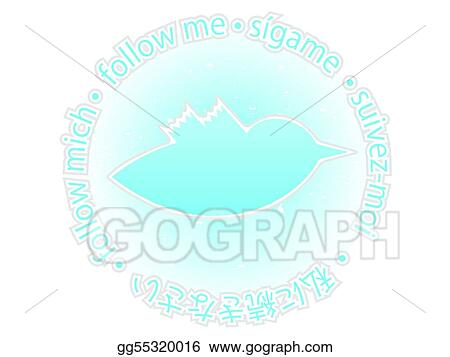 vector art multilingual follow me texture blue twitter bird badge